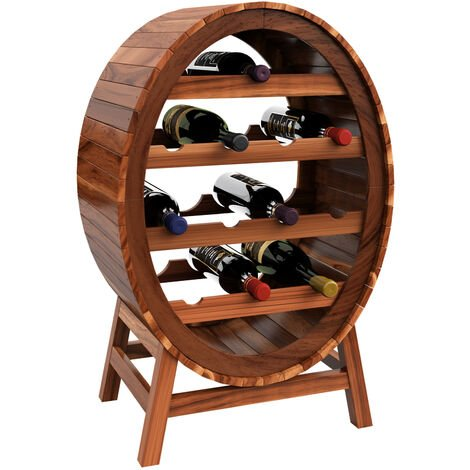Deuba Wooden Wine Rack Barrel Shape 12 Bottles Holder Stand Storage Wood Free Standing Display Cabinet Shelves