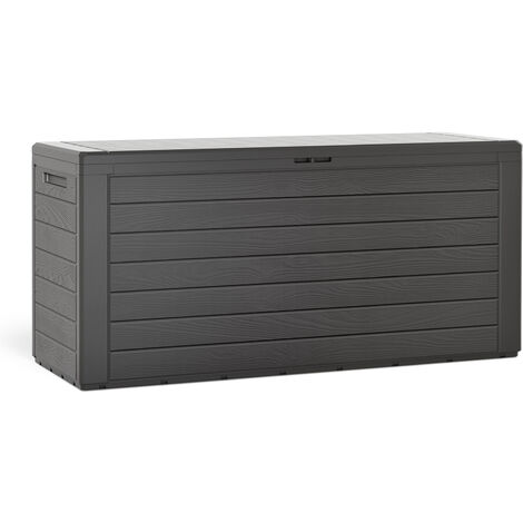 Deuba Woody Holzoptik Deckel klappbar 120x46x57cm Kissenbox Gartenbox Garten Truhe Tischtruhe