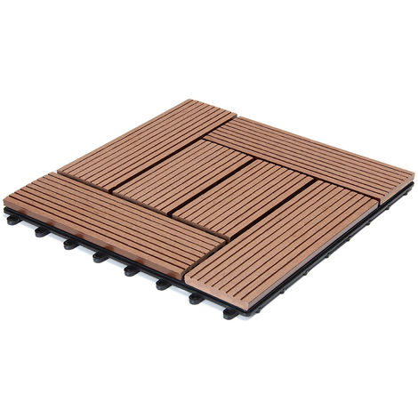 Deuba WPC Decking Tiles Patio Garden Terrace Outdoor 30x30cm