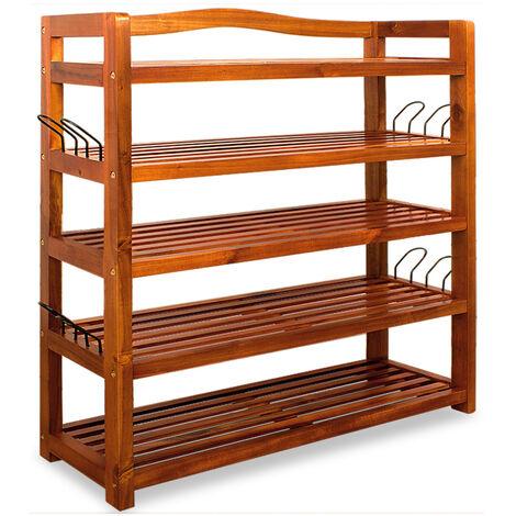 Deuba Zapatero Estanteria para zapatos mueble de madera de acacia 5 baldas estables 64 cm x 26 cm x 82 cm Almacenaje
