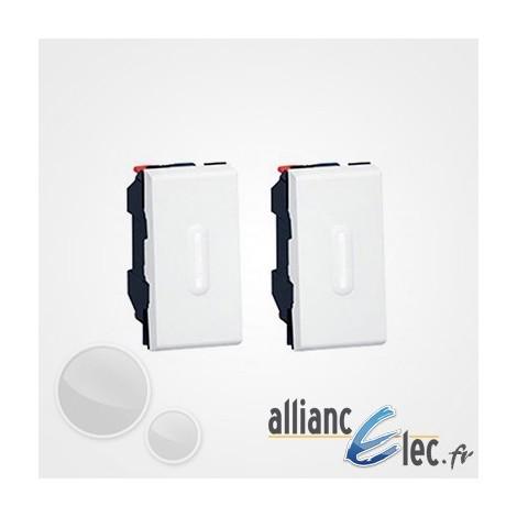 Deux boutons à voyant LED - Legrand Mosaic - 2x1 module - blanc