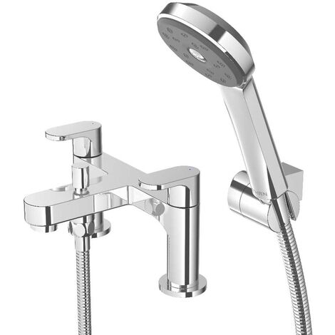 Deva Breeze Bath Shower Mixer Tap Deck Mounted with Shower Kit and Wall Bracket - Chrome