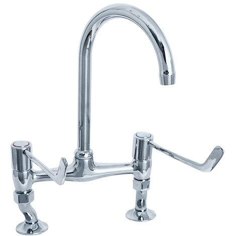 Deva Bridge Kitchen Sink Mixer Tap, 6 Inch Lever Handles, Chrome