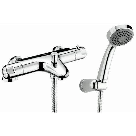 Deva Dynamic Pillar Mounted Thermostatic Bath Shower Mixer Tap - Chrome