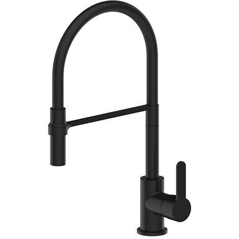 Deva Ellesmere Flexi Pull-Out Kitchen Sink Mixer Tap - Matte Black