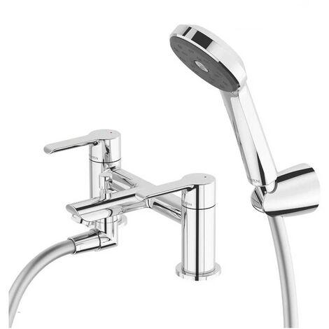 Deva Kea Bath Shower Mixer Tap Deck Mounted with Shower Kit - Chrome