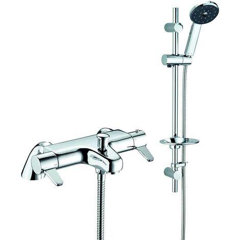 Deva Kiri Satinjet Thermostatic Pillar Mounted Bath Shower Mixer Tap with Shower Rail Kit - Chrome