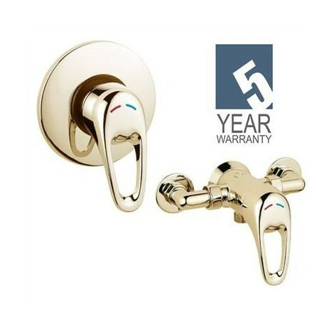 Deva Lace Gold Lever Shower Mixer Valve Exposed Concealed - 150mm Centres