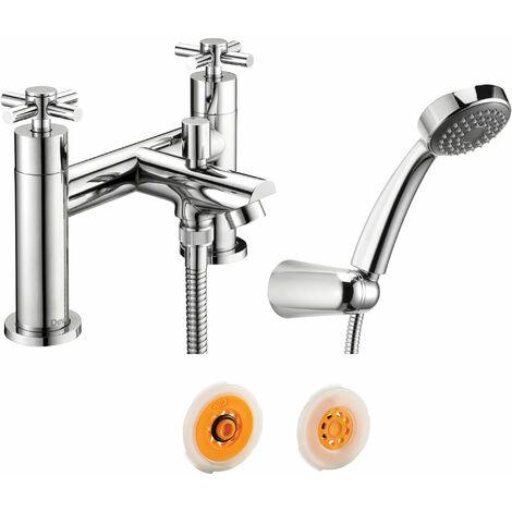 Deva Motif Deck Mounted Bath Shower Mixer 8 litre Flow Regulator, Chrome