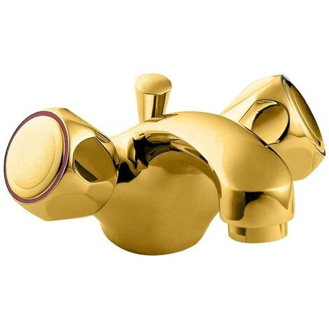 Deva Profile Mono Basin Mixer Tap with Pop Up Waste - Gold