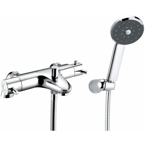 Deva Thermostatic Pillar Mounted Lever Bath Shower Mixer Tap - Chrome