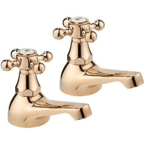 Deva Tudor Traditional Bath Taps Pair - Gold