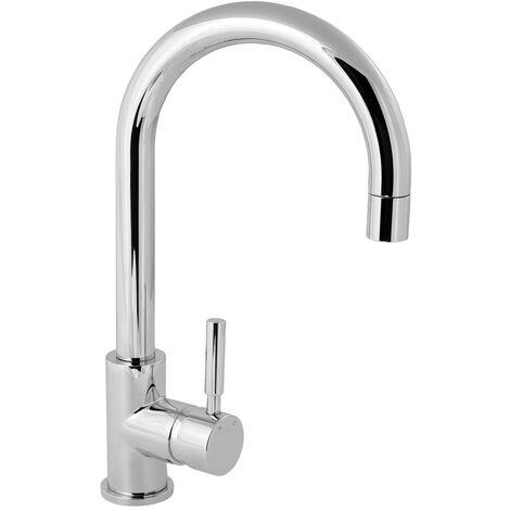 Deva Vision Mono Kitchen Sink Mixer Tap, Arched Spout, Chrome