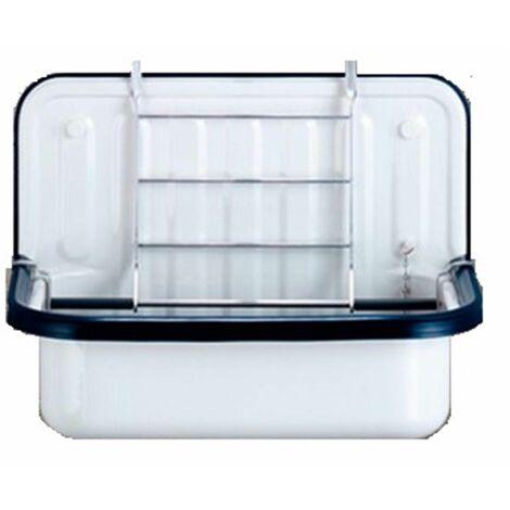 Déversoir A'FORM sans trop plein - Couleur : BLANC avec bordure en plastique bleu foncé