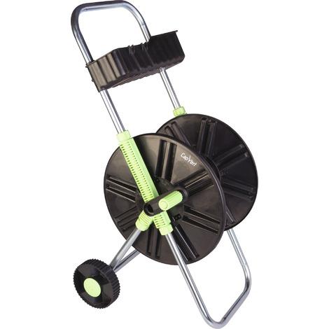 Dévidoir ABS de tuyau sur roues avec clayette Cap Vert - Vert et argent