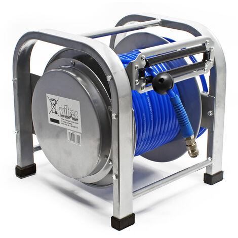 Dévidoir automatique Enrouleur de tuyau pneumatique en acier 30m 12bar 12,91mm (1/4pouce) - Noir