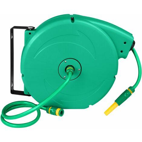 Dévidoir avec tuyau d'arrosage pivotant vert 20 m - Vert