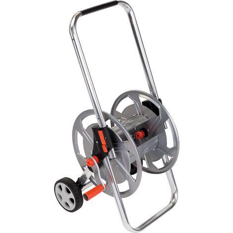 Dévidoir d'arrosage aluminium Spool sur roues Capvert - Poignée réglable - Argent, orange et noir