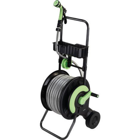 Dévidoir d'arrosage équipé d'un tuyau de 25 m Capvert - Diamètre tuyau 15 mm - Noir et vert