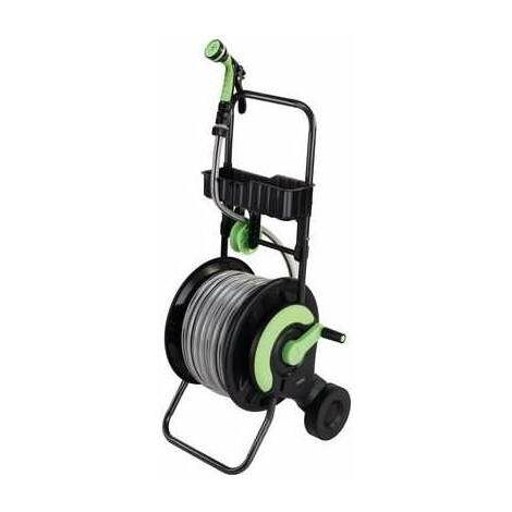 Dévidoir d'arrosage équipé d'un tuyau de 25 m - Diamètre tuyau 15 mm - Cap Vert