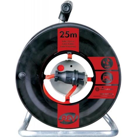 Dévidoir de cable électrique H07RN-F3G 25 m, noir/rouge