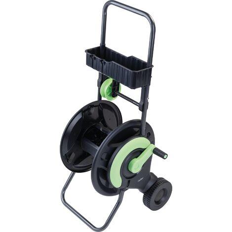 Dévidoir de tuyau d'arrosage avec guide et clayette Cap vert - Vendu sans tuyau - Noir et vert