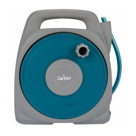 Dévidoir de tuyau d'arrosage portable équipé Capvert - Longueur 10 m - Bleu et gris clair
