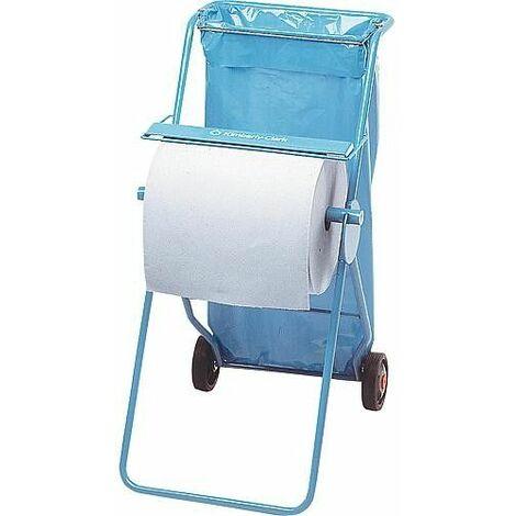 Dévidoir mobile métal avec sac dechets pour grands rouleaux essuie-tout livré sans essuie-tout