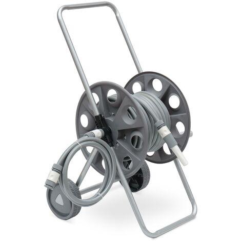 Dévidoir sur roues 20m, enrouleur avec tuyau d'arrosage, raccord et lance fournis
