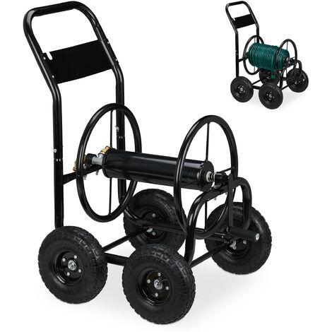 """Dévidoir tuyau d'arrosage, métal, connexion 1/2"""" & 3/4"""", tambour mobile, jusqu'à 75 m de long, 4 roues, noir"""