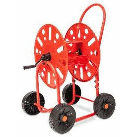 Dévidoirs acier 4 roues pour tuyau d'arrosage 19mm / 90M max.