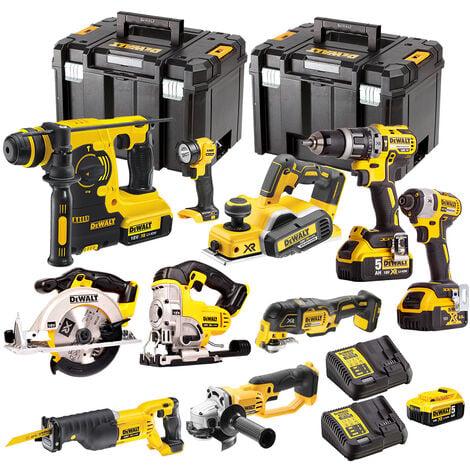 Dewalt 10 Piece 18V Li-ion Kit 4 x 5.0Ah Batteries & 2 x Charger DEW-KIT4M:18V