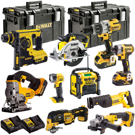 DEWALT 18V 10 Piece Power Tools Kit LI-ON with 5 x 4.0Ah Batteries T4T18VKIT12