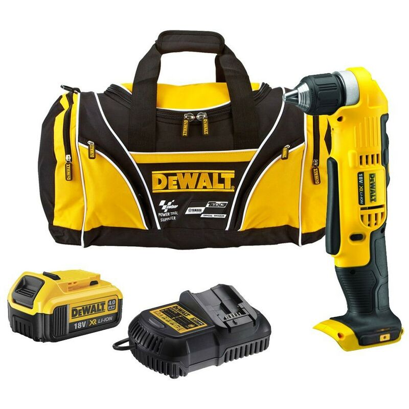 Image of 18v DCD740M2 Right Angle Drill XR 2 Speed + 2 x 4.0ah Batts, Charger, Bag - Dewalt