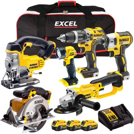 DeWalt 18V Li-Ion 6 Piece Combo Kit with 3 x 5.0AH Batteries & Charger in Bag:18V