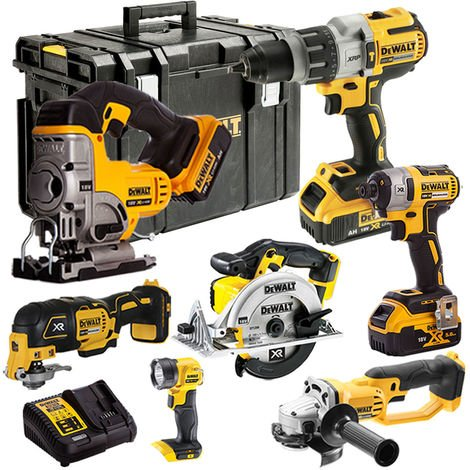 DEWALT 18V LI-ION 7 Piece Combo Kit with 3 x 4.0Ah Batteries Charger TOU18VKIT6