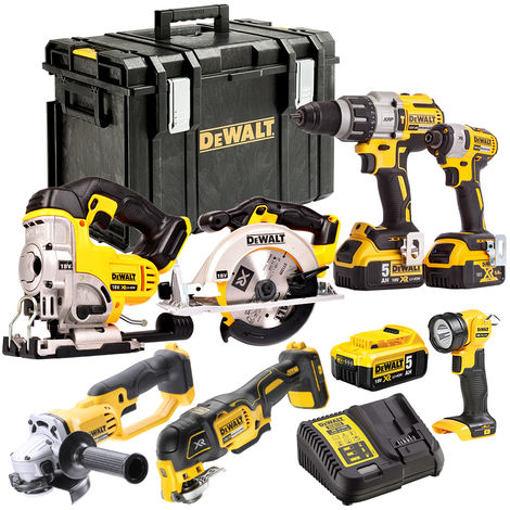 DEWALT 18V LI-ION 7 Piece Combo Kit with 3 x 5.0Ah Batteries Charger T4T18VKIT6