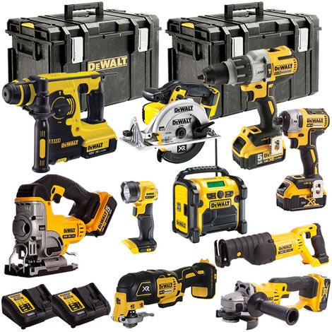 DEWALT 18V XR 10 Piece Cordless LI-ON KIT with 5 x 5.0Ah Batteries TOU18VKIT12