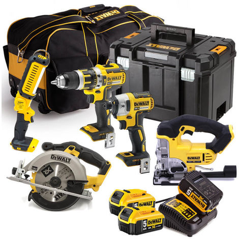 Dewalt 18V XR 5 Piece Kit 3 x 5.0AMP Li-ion Batteries