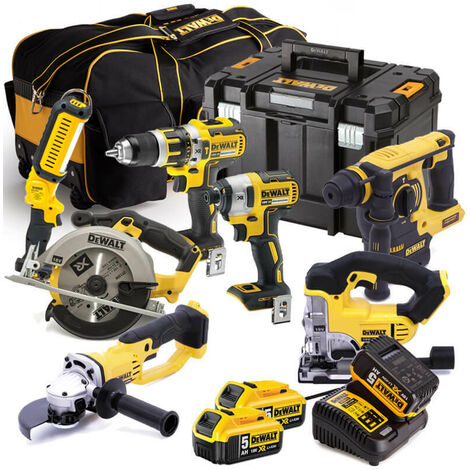 Dewalt 18V XR 7 Piece Kit 3 X 5.0AMP Li-ion Batteries