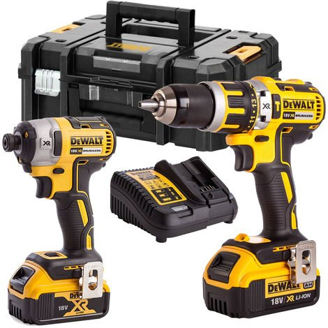 Dewalt 18V XR Brushless Combi Drill and Impact Driver 2 x 4.0Ah Li-ion Twin Kit