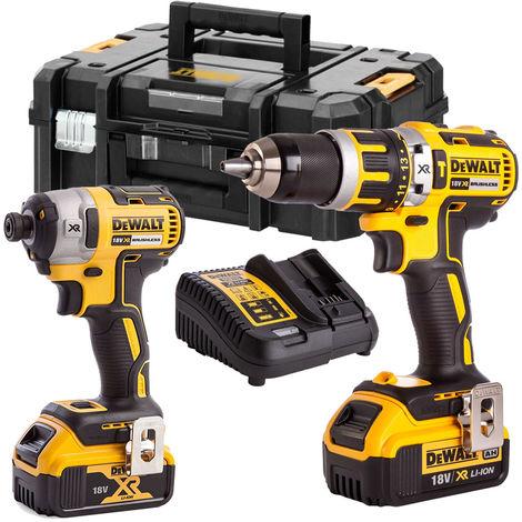 Dewalt 18V XR Brushless Combi Drill and Impact Driver 2 x 4.0Ah Li-ion Twin Kit
