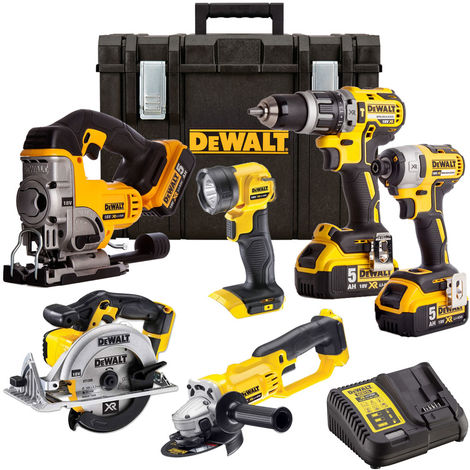 Dewalt 18v XR Li-Ion 6 Piece Kit 3 X 5.Ah Batteries Charger DEW-KIT-1M:18V