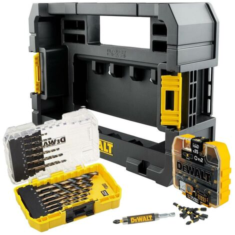 Dewalt 49 Piece Black Gold Drill + Screwdriver Bit Set + Tough Case TStak Caddy