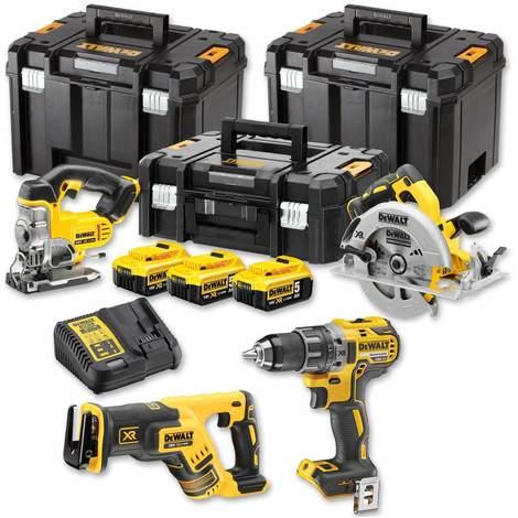 DeWALT Akku-Kombopack DCK421P3T-QW 18V 5Ah - DCD791 Bohrschrauber, DCS570 Handkreissäge, DCS331 Stichsäge, DCS367 Säbelsäge, Schnellladegerät, 3x 5Ah Akkus DeWALT - 16053