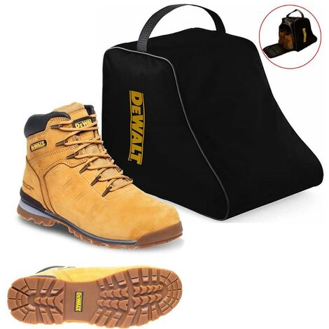 DeWALT Carlisle Tan Safety Work Boots Steel Toecap UK Sizes 9 + DeWALT Boot Bag