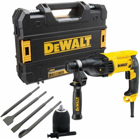 Dewalt D25133K 110V SDS+ Hammer Drill 26mm & 4 Piece Chisel Set + Keyless Chuck