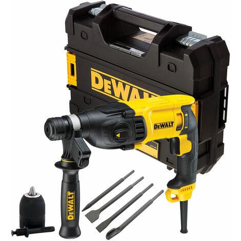 Dewalt D25133K 3 Mode SDS+ Rotary Hammer 240V with 4 Piece Chisel Set + Keyless Chuck