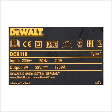 DeWALT DCB 118 Cargador rápido XR FLEXVOLT para baterías carril XR 54 V / 18 V