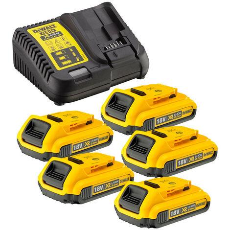 Dewalt DCB115 Charger & 5 x DCB183 2.0ah 18v XR Li-ion Batteries